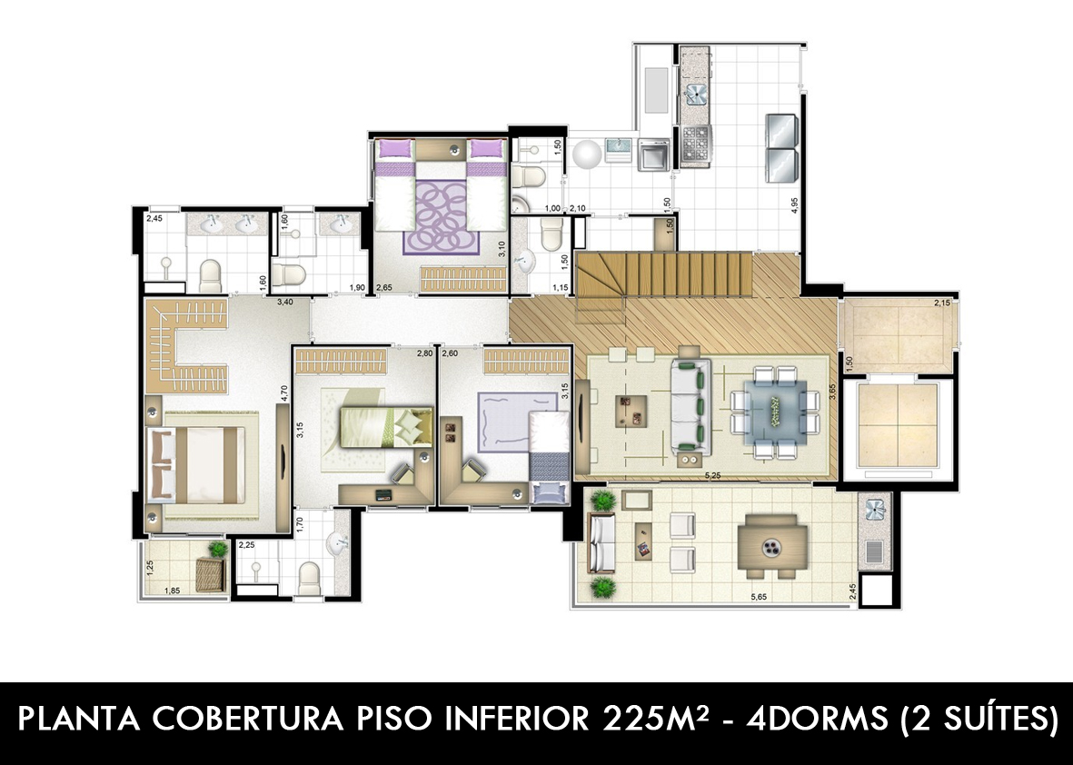 PLANTA COBERTURA PISO INFERIOR 225M²(4 SUÍTES)