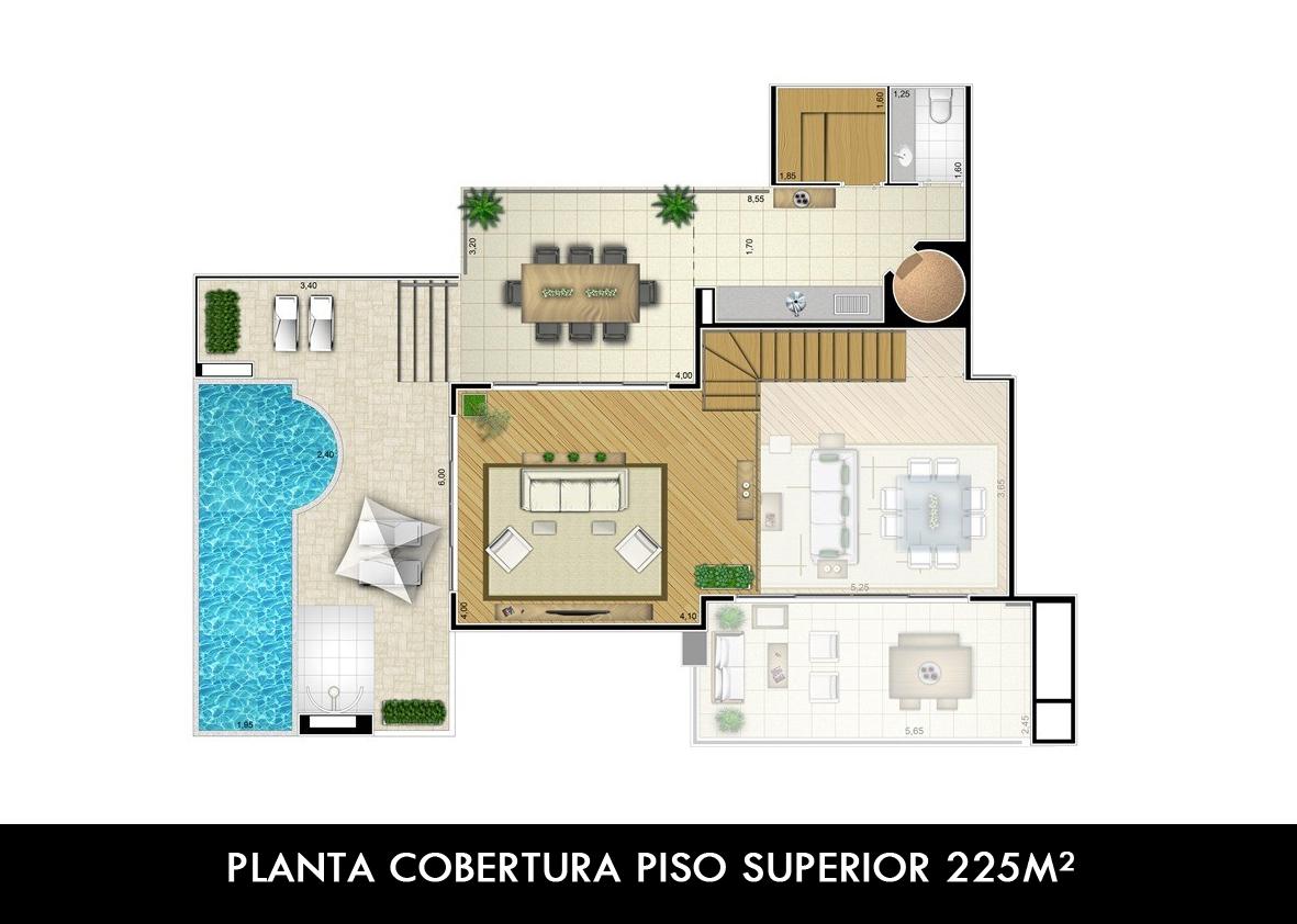 PLANTA COBERTURA PISO SUPERIOR 225M²