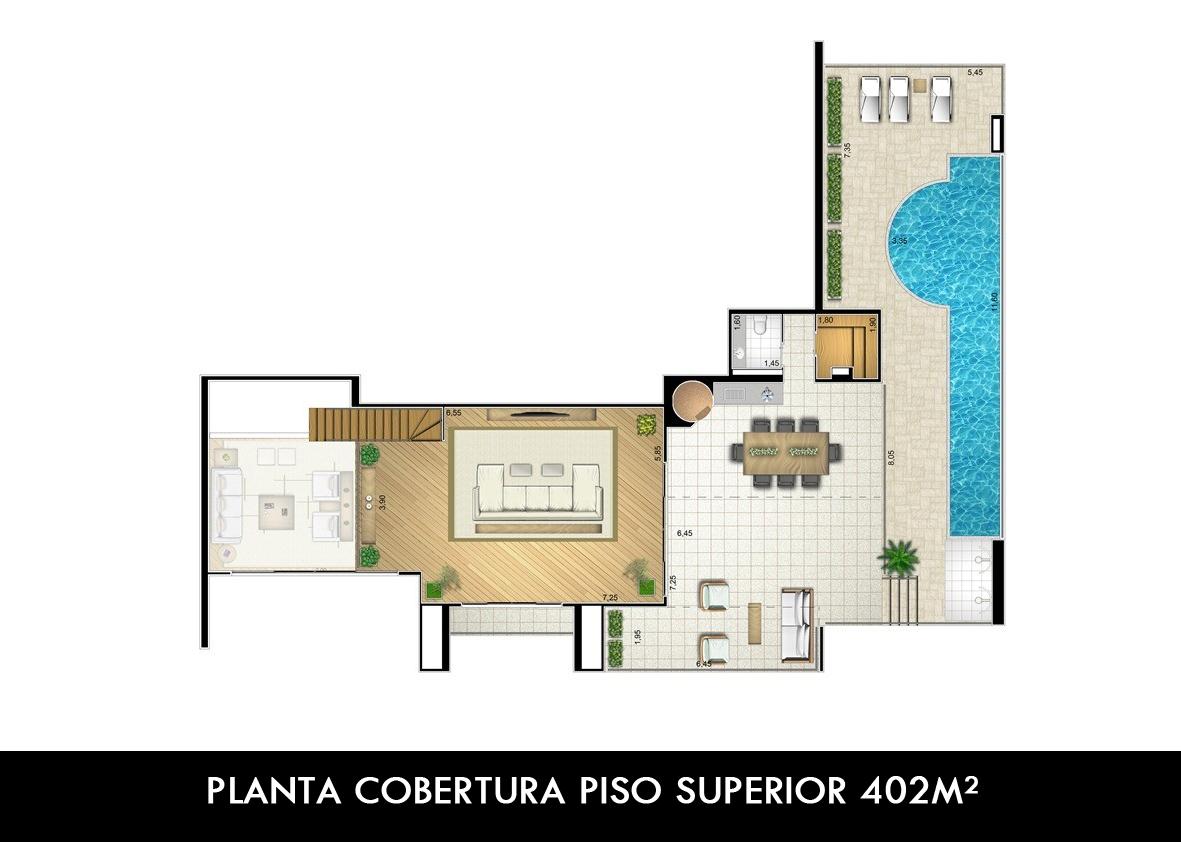 PLANTA COBERTURA PISO SUPERIOR 402M²