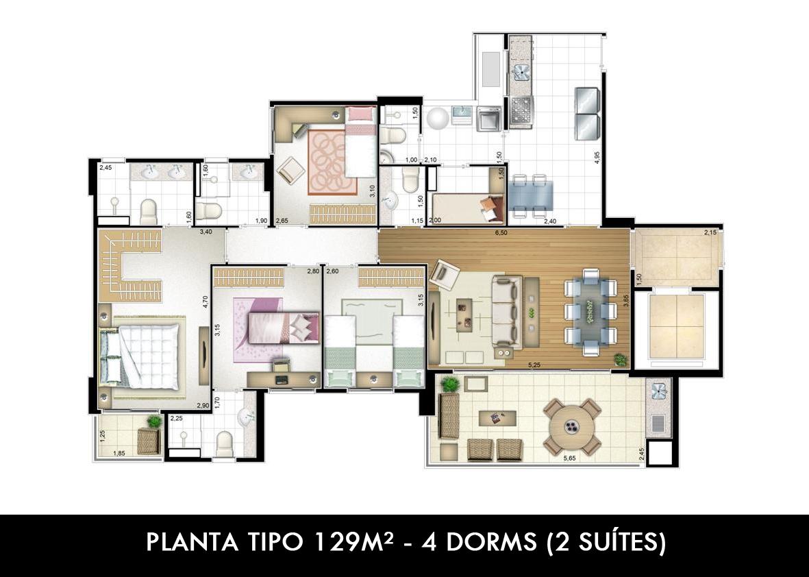 PLANTA TIPO 129M² - 4 DORMS(2 SUITES)